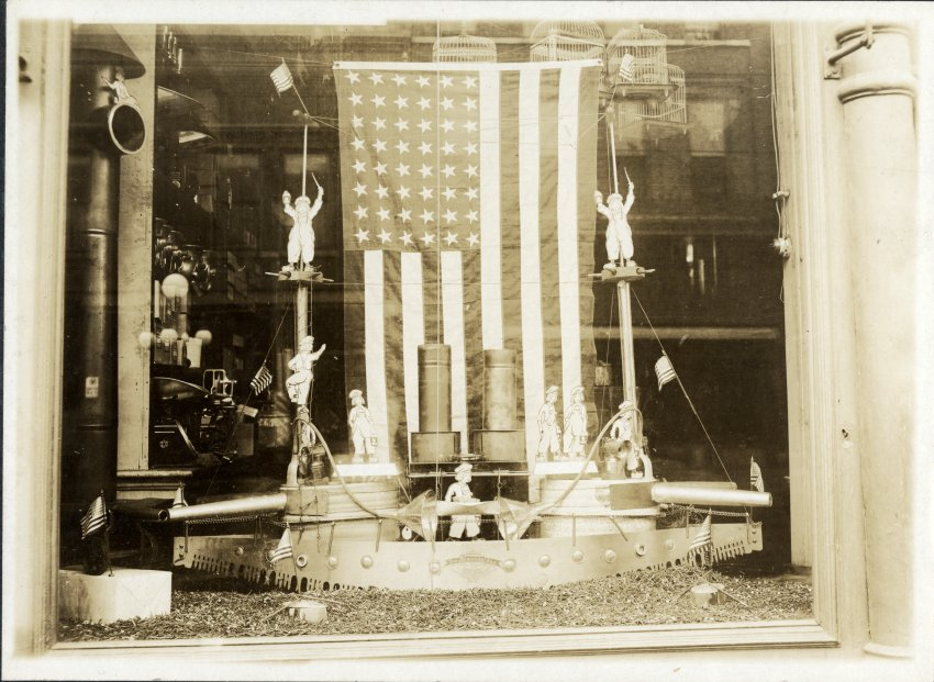 Storefront Window Decorated for War in Wausau, 1917